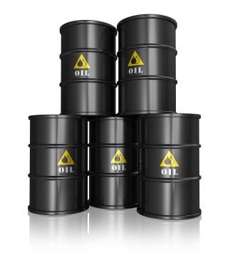 Group of black oil barrels